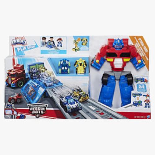 Hasbro Playskool Heroes Transformers Rescue Bots Flip Racers Optimus Prime Race Track T