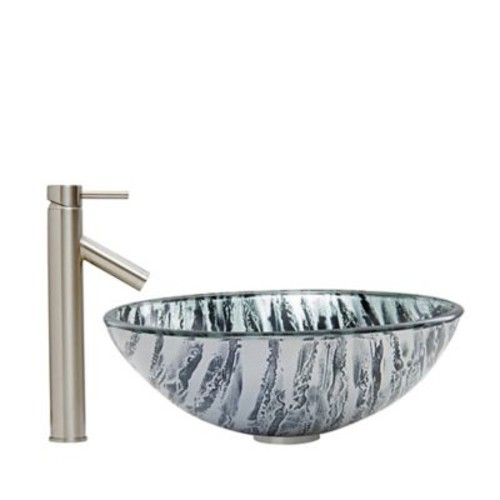 Vigo Rising Moon Vessel Sink and Dior Faucet Set in Brushed Nickel
