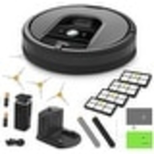 iRobot Roomba 960 Vacuum Cleaning Robot + Virtual Wall Barrier + 3 SideBrushes + 4 High Efficiency Filters + AeroForce Extractor