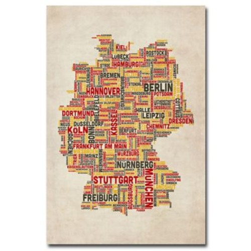 Trademark Fine Art Michael Tompsett 'Germany-Cities Text Map' Canvas Art 18x24 Inches