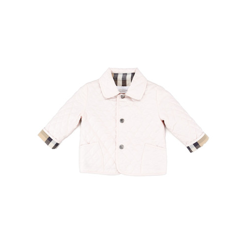 BURBERRY Check-Lined Quilted Jacket, Ice Pink, 6-18 Months
