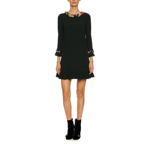 DOLCE & GABBANA Button-Embellished 3/4-Sleeve Cady Cocktail Dress, Black
