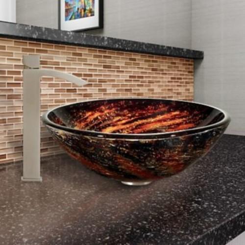 Vigo Northern Lights Glass Circular Vessel Bathroom Sink; Brushed Nickel