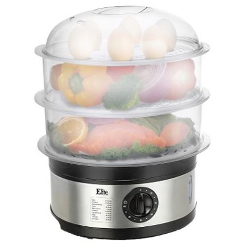 Elite PLATINUM - 3-Tier 8-1/2-Quart Food Steamer - Stainless-Steel