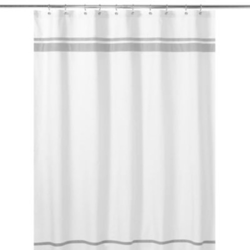 Sweet Jojo Designs Hotel Shower Curtain in White/Grey