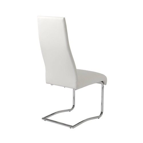 Eur Style Rooney Leatherette Side Dining Chair with Chromed Steel Base, Set of 2, High Back, White [White, High Back]