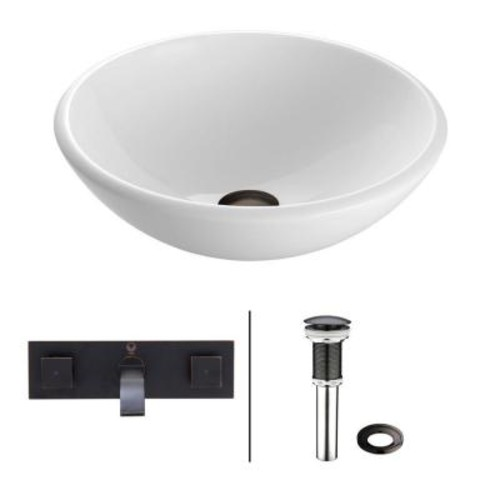 VIGO Stone Glass Vessel Sink in White Phoenix with Wall-Mount Faucet Set in Antique Rubbed Bronze