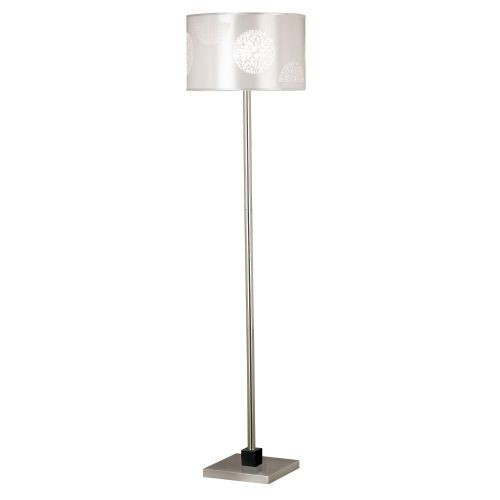 Kenroy Home 20963BS Cordova Floor Lamp, Brushed Steel with Graphite Accents [Silver / Pewter]