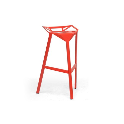 Baxton Studio Kaysa Red Aluminum Modern Bar Stool (Set of 2)