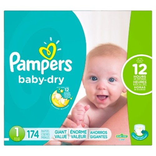 Pampers Baby Dry Diapers Size 1, 174 Count