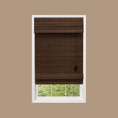Home Decorators Collection Espresso Flatweave Bamboo Roman Shade - 61.5 in. W x 48 in. L (Actual Size 61 in. W x 48 in. L)
