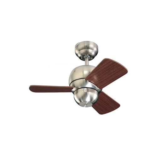 Monte Carlo 3TF24BS Micro 24-Inch 3-Blade Ceiling Fan with Mahogany Blades, Brushed Steel [Brushed Steel]