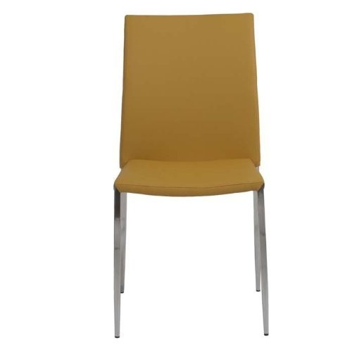 Euro Style Diana Soft Leatherette Stacking Side Chair with Stainless Steel Frame, Saffron, Set of 4 [Saffron]