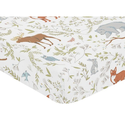 Sweet Jojo Designs Woodland Toile Collection Animal Toile Print Fitted Crib Sheet