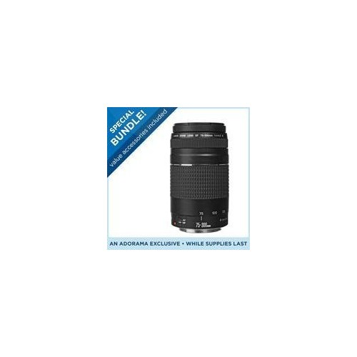 Canon EF 75-300mm F/4-5.6 III Autofocus Telephoto Zoom Lens - USA - Special Promotional Bundle