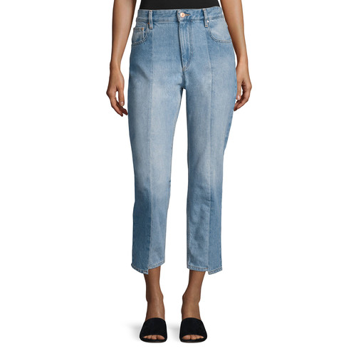 ETOILE ISABEL MARANT Clancy Mixed-Denim Cropped Straight-Leg Jeans