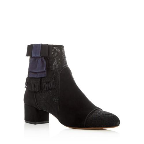 TABITHA SIMMONS Women'S Anastasia Suede & Lace Mid Heel Booties