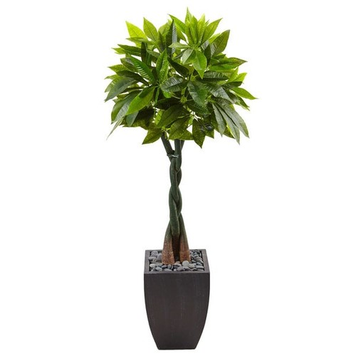 Nearly Natural Black 5-foot Money Tree Square Planter