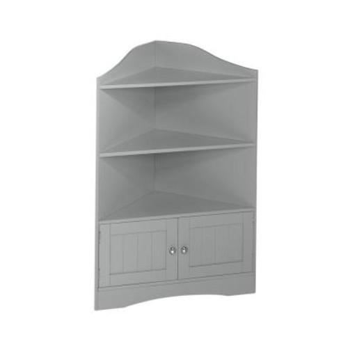 RiverRidge Home Ashland Collection 24-4/5 in. W x 36 in. H Corner Bathroom Linen Storage Cabinet in Gray