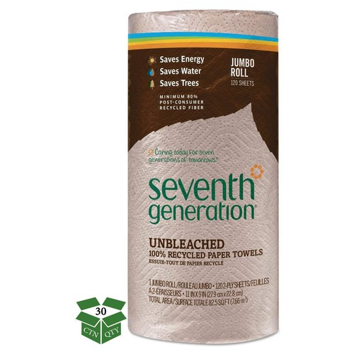 SEVENTH GENERATION Unbleached 100% Recycled Paper Towels (30 Rolls)