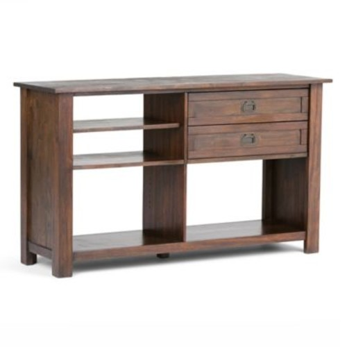 Simpli Home Monroe Console Table with Distressed Charcoal Brown Stain