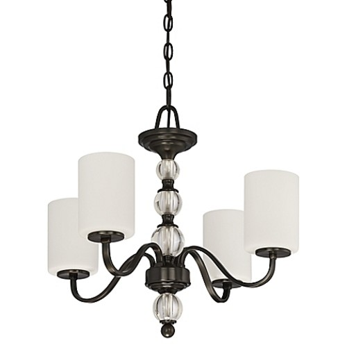 Quoizel Downtown 4-Light Chandelier in Dusk Bronze with Linen Shade