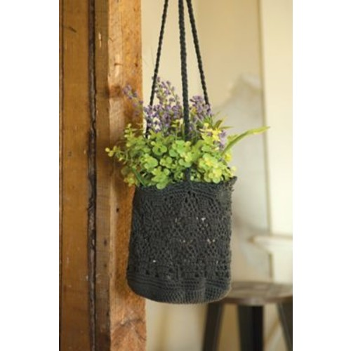 Heritage Lace Mode Crochet Hanging Basket (Set of 2); Charcoal