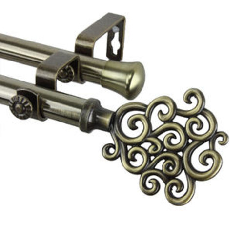 Rod Desyne Home Bathroom Window Treatments Tidal Double Curtain Rod 48-84 inch - Antique Brass
