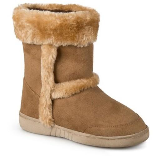 Girls' Journee Collection Chuckie Faux Fur Trim Fashion Boots - Chestnut 1