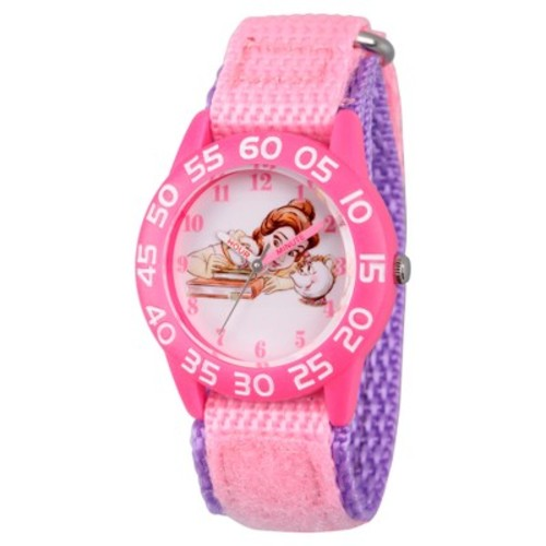 Girls' Disney Princess Belle, Mrs Potts, and Chip Pink Plastic Time Teacher Watch - Pink