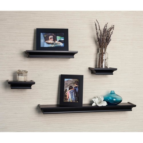 DANYA B Contempo 24 in. W x 1.5 in. H Black MDF Cornice Ledge Shelves (Set of 4) with 2 Photo Frames