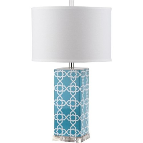 Safavieh Quatrefoil 27 in. Navy Table Lamp with White Shade