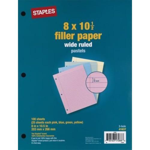 Staples Pastel Filler Paper, 8