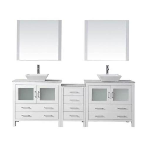 Virtu USA Dior 90 in. W x 18.3 in. D Vanity in White with Marble Vanity Top in White with White Basin and Mirror