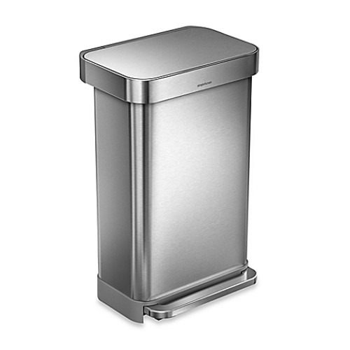 simplehuman 45-Liter Rectangle LinerStep Trash Can w/Liner Pocket in Brushed Stainless Steel