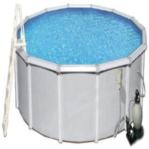 Blue Wave Samoan 24-ft Round 52-in Deep 8-in Top Rail Metal Wall Swimming Pool Package