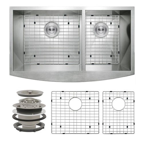 AKDY Handcrafted All-in-One Farmhouse Apron Front Stainless Steel 33 in. x 20 in. x 9 in, Double Bowl Kitchen Sink