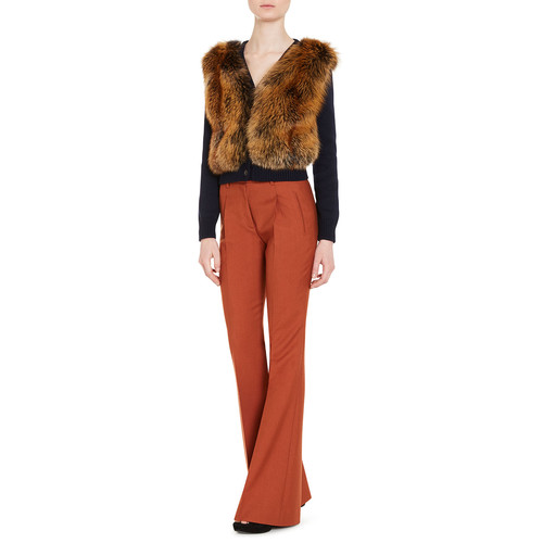 PRADA Knit Cardigan W/Fox Fur Front, Blue
