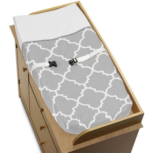 Sweet Jojo Designs Gray and White Trellis Collection Changing Pad Cover