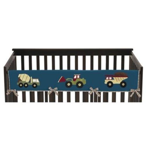 Sweet Jojo Designs Construction Zone Long Crib Rail Cover in Teal/Yellow