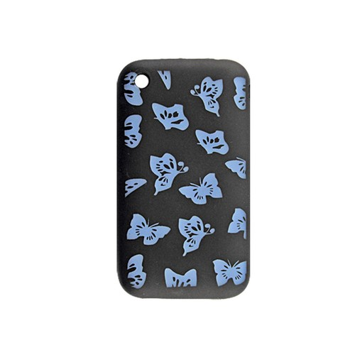 Silicone Skin Butterfly Phone Case Guard Black for iPhone 3G