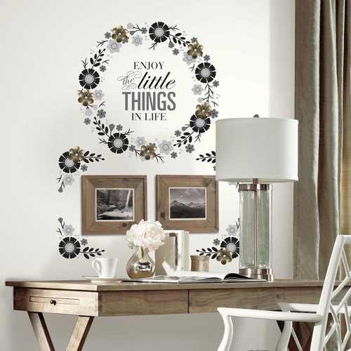 RoomMates Floral Wreath Quote w/Embellishments Peel and Stick Giant Wall Decals