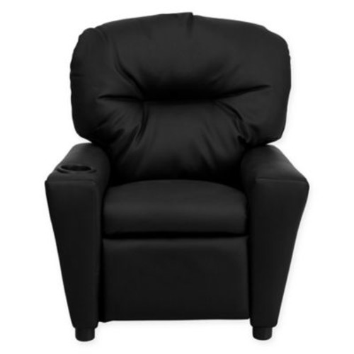 Flash Furniture Leather Kids Recliner with Cup Holder in Black