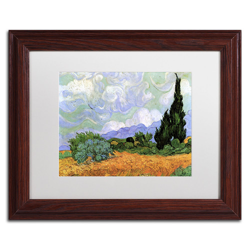 Trademark Global Vincent van Gogh 'Wheatfield with Cypresses 1889' Matted Framed Art [Overall Dimensions : 11x14]