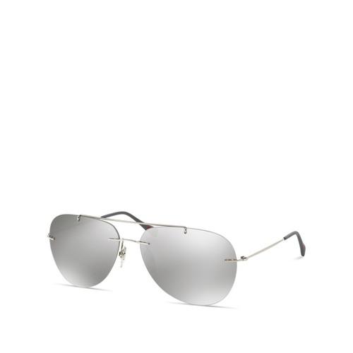 Linea Rossa Mirrored Rimless Aviator Sunglasses, 63mm