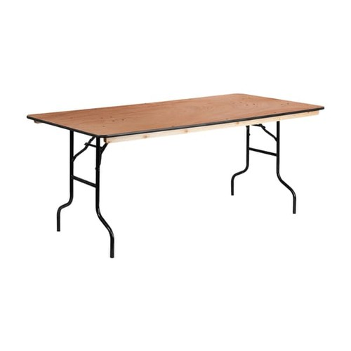 Offex Rectangular Wood 36-inch x 72-inch Folding Banquet Table with Clear Coated Finished Top