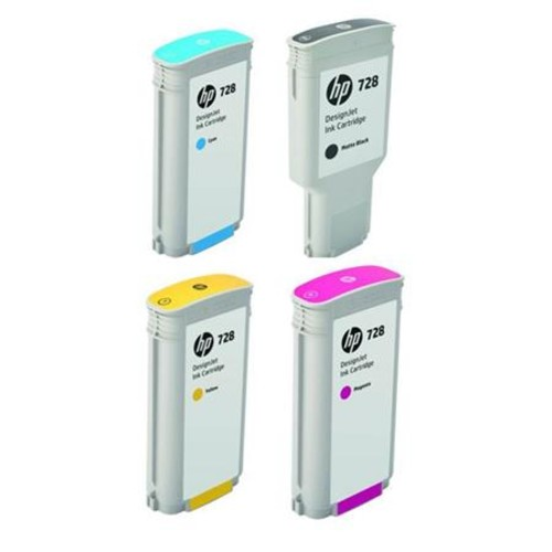 HP 728 130-ml DesignJet Ink Cartridge Bundle Yellow/Magenta/Cyan/Matte Black IHP728130K