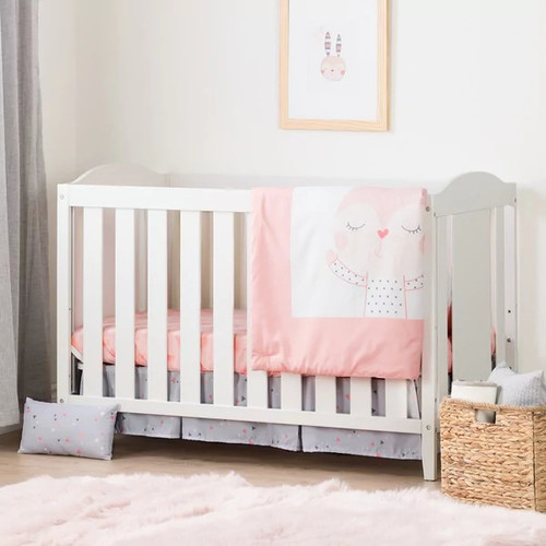 South Shore Angel Crib with Toddler Rail and Doudou the rabbit 4-Piece Bed Set [option : White - White Finish]