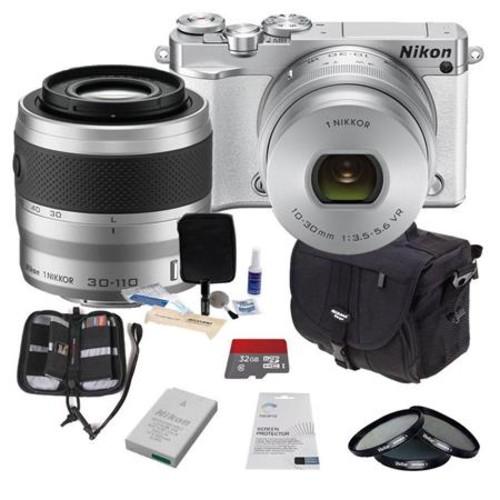Nikon 1 J5 Mirrorless Camera w/10-30mm &30-110mm Lens and Premium Bundle, White 27712 B
