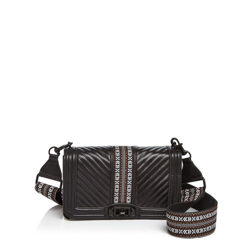 REBECCA MINKOFF Love Jacquard Leather Crossbody